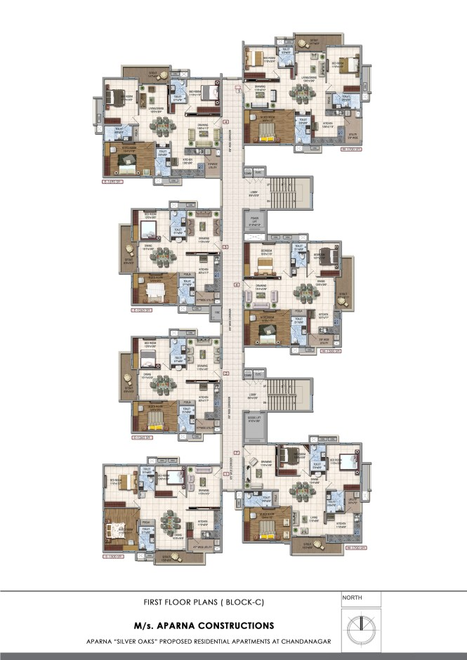 Aparna Hillpark Silver Oaks Chandanagar Apartments First Floor Block D Plan
