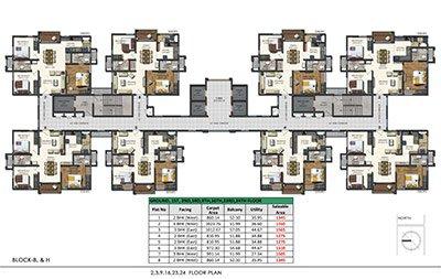 Aparna Sarovar Zenith nallagandla apartment 2,3,9,16,23,24 floor plan