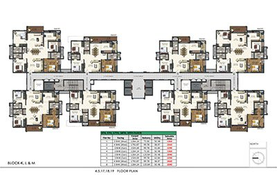 4th 5th 17th 18th and 19th floor plan of Aparna sarovar grande in Nallagandla