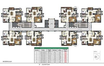 Aparna Sarovar Zenith nallagandla apartment 6th floor plan