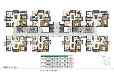 Floor plan of Aparna Sarovar Zenith 3rd 9th 16th 23rd and 24th floors 3bhk 2