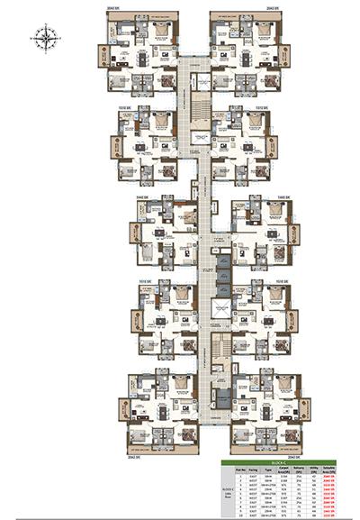 Block C fourteen floor plan