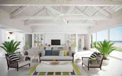 A color scheme is going to be the biggest factor in keeping your apartment feeling like a beach.  Use lots of crisp whites and light tan colors to recreate that sandy shore experience.