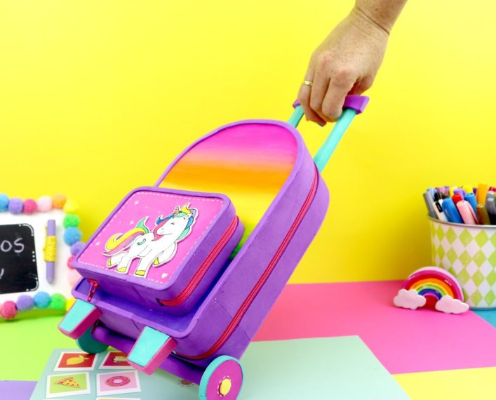 unicorn pencil case with backpack shape