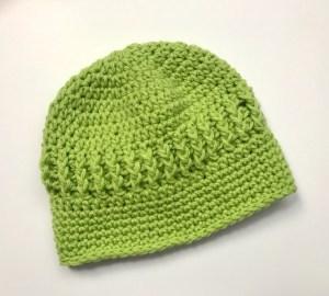 Free Crochet Pattern, Baby J's Blacklight crochet hat in green