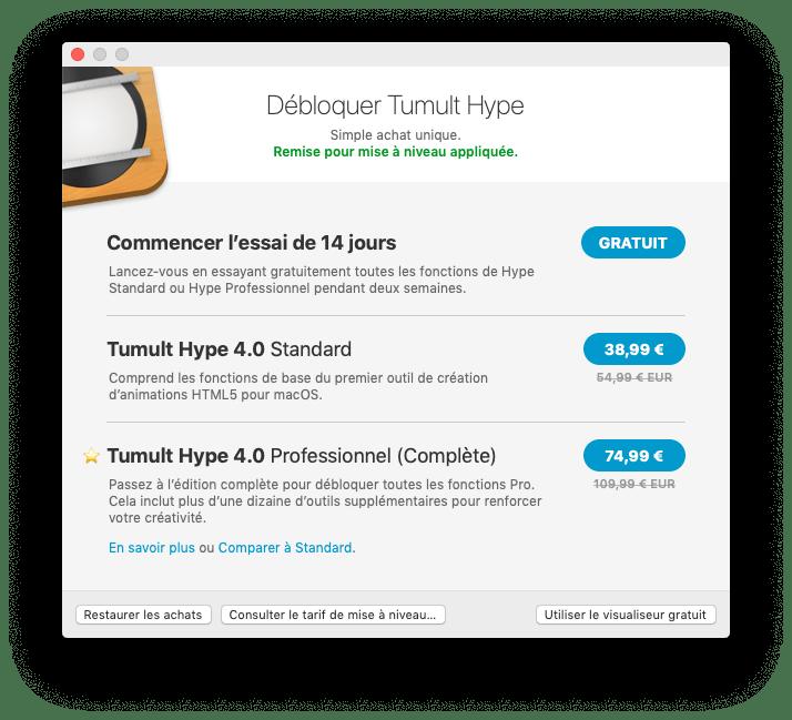 Tarifs de la mise à jour de Hype Pro 4 sur le Mac App Store