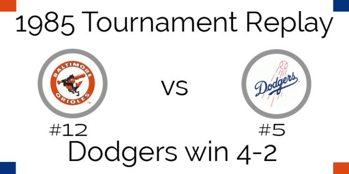 1985 Tournament Results – Dodgers beat Orioles 4-2