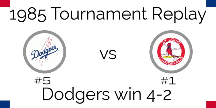 1985 Tournament Results – Dodgers beat Cardinals in 6