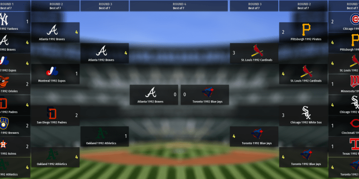 Out Of The Park 1992 Tournament Final Set – Braves vs Blue Jays