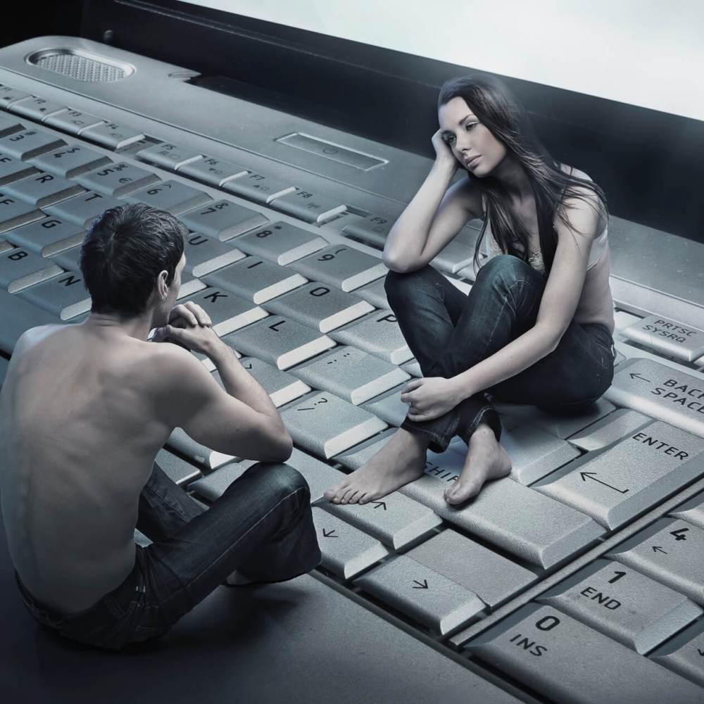 Couple having an emotional affair online