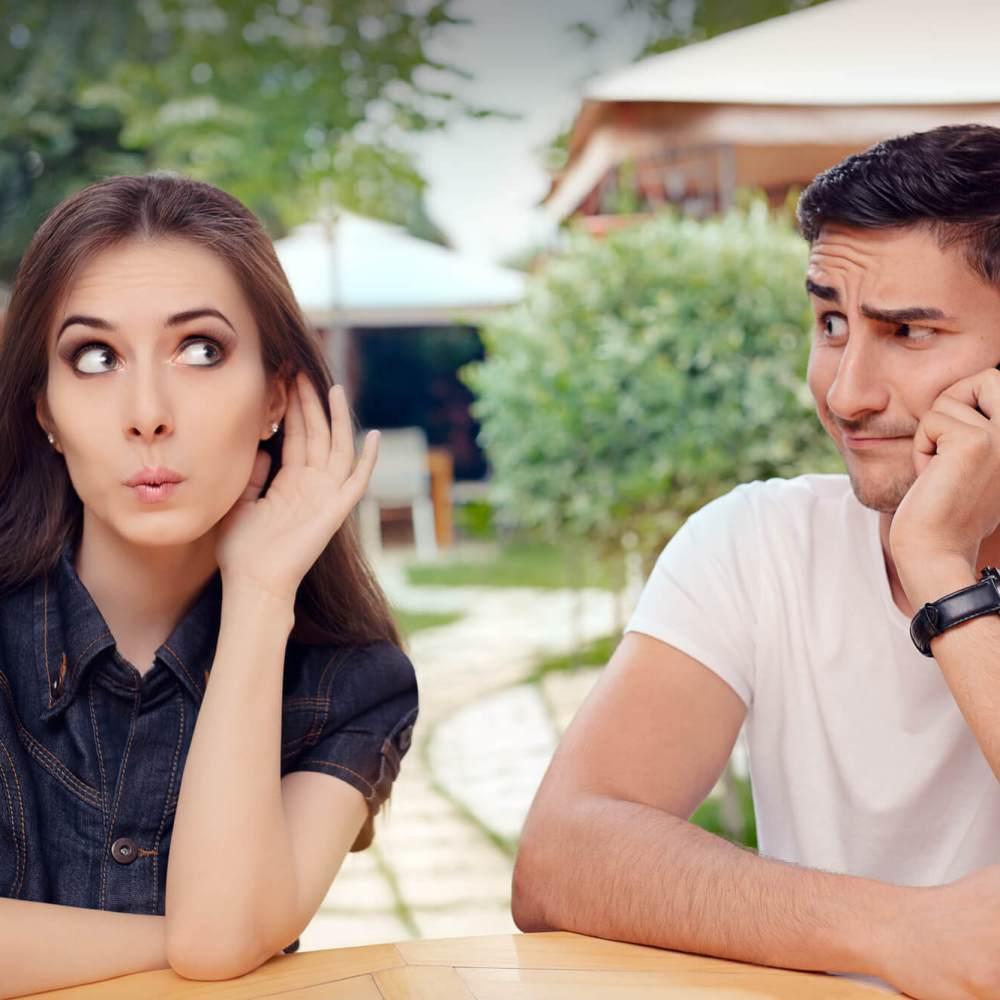 Jealous wife listening
