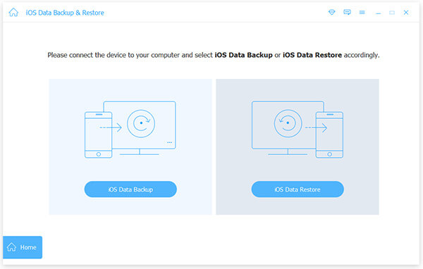 Ang pangunahing data recovery interface iOS.
