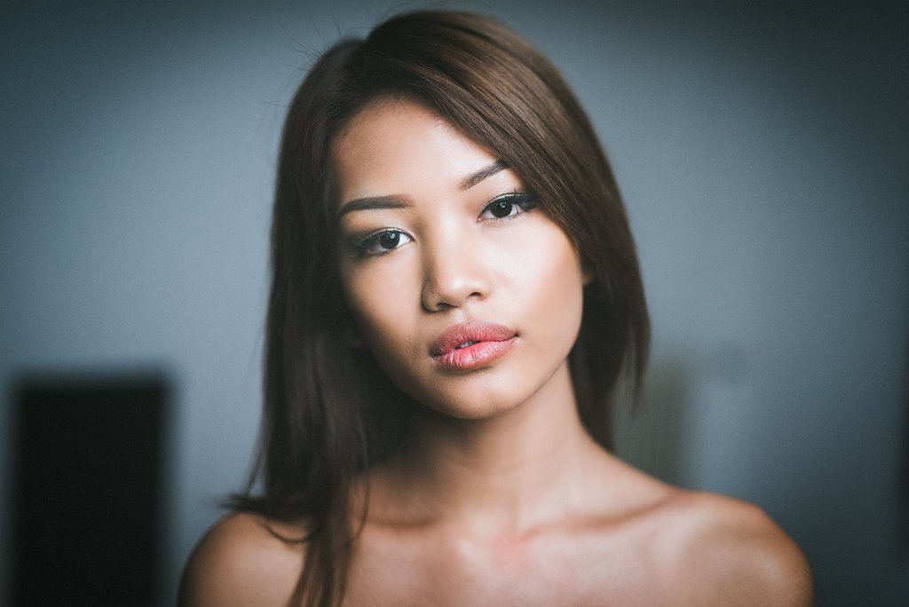 emotional portrait in color of an asiatic girl