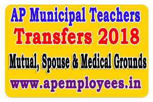 AP Municipal Teachers Transfers 2018 Mutual, Spouse Cases G.O.RT.No. 506 Dated: 16-05-2018 transfers online application form 2018 Spouse transfers 2018 medical grounds guidelines instructions How to know your entitle points Calculate Entitlement Points for teachers transfers last date for submit application eligibility