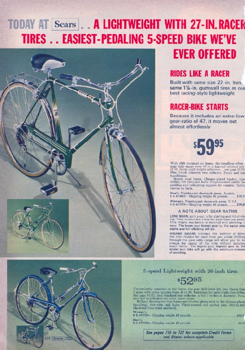 It Came From the 1971 Sears Catalog Bicycle Bicycle