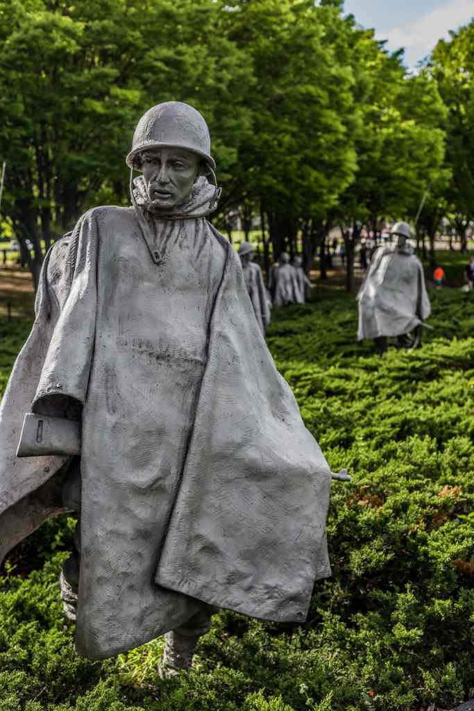 Soldiers in rice fields in the Korean War Memorial