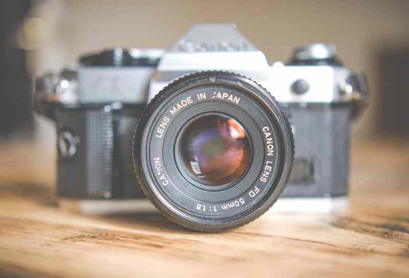 Vintage Canon FD 50mm lens on a vintage camera body