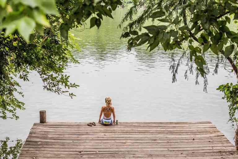 Girl on a dock during the summer