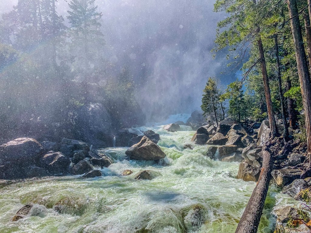 Lower Yosemite Falls creating mist on the Vista Point Trail