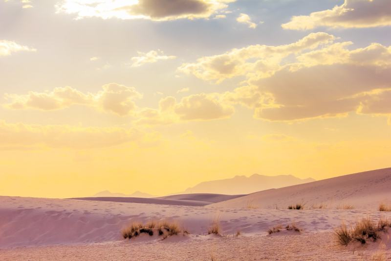 Pink and Yellow Sunset in White Sands National Park - Las Cruces, New Mexico