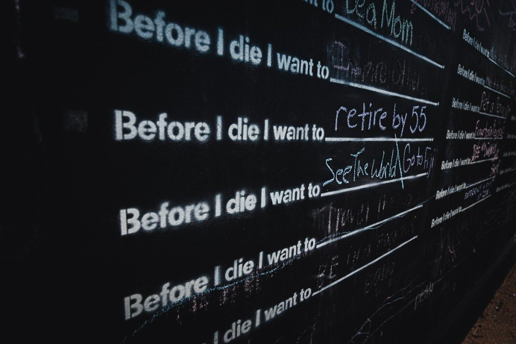 """""""see the world"""" life goal on the before I die wall mural"""