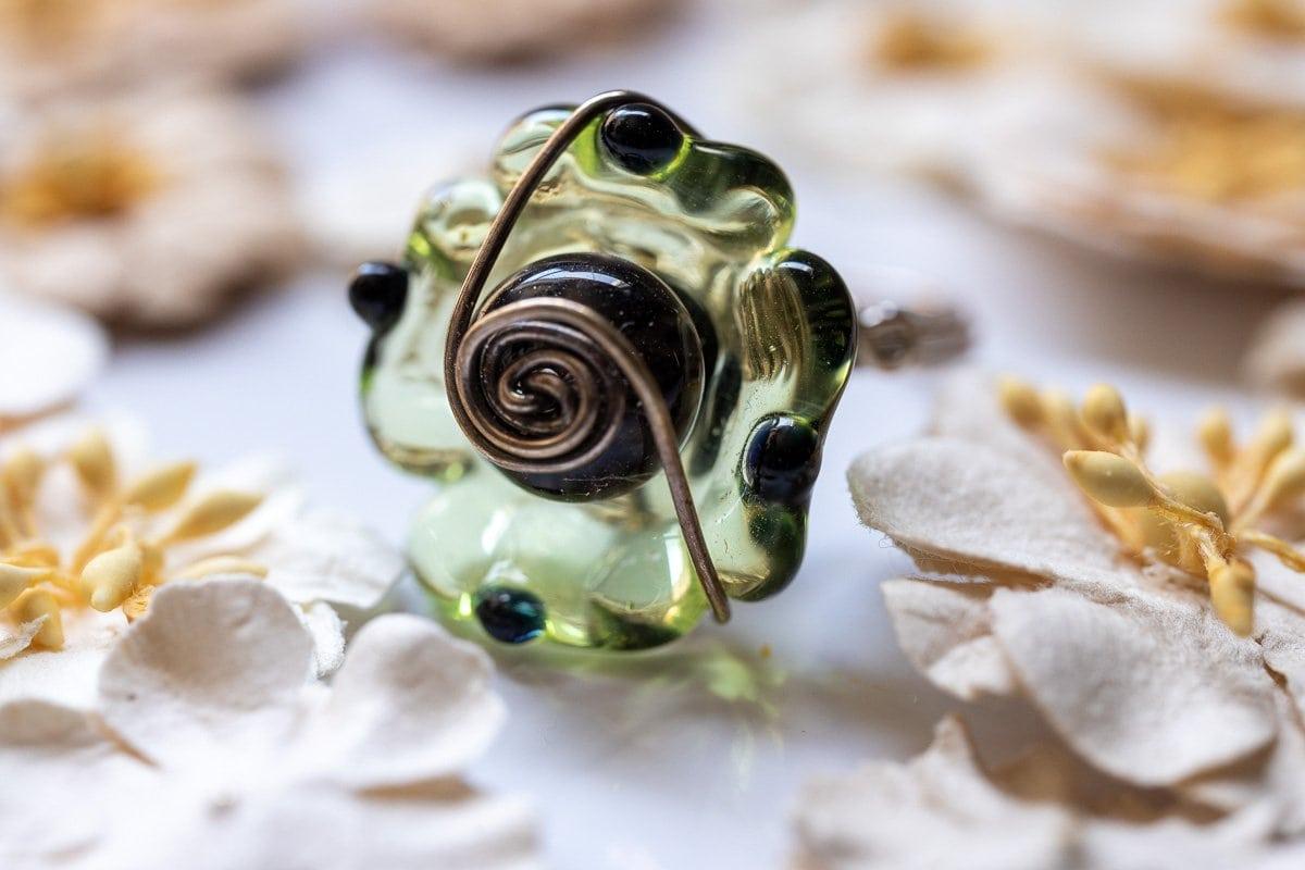 Green Rose Glass Art Ring