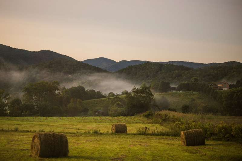 Morning Fog As the sunrises of the Great Smoky Mountains