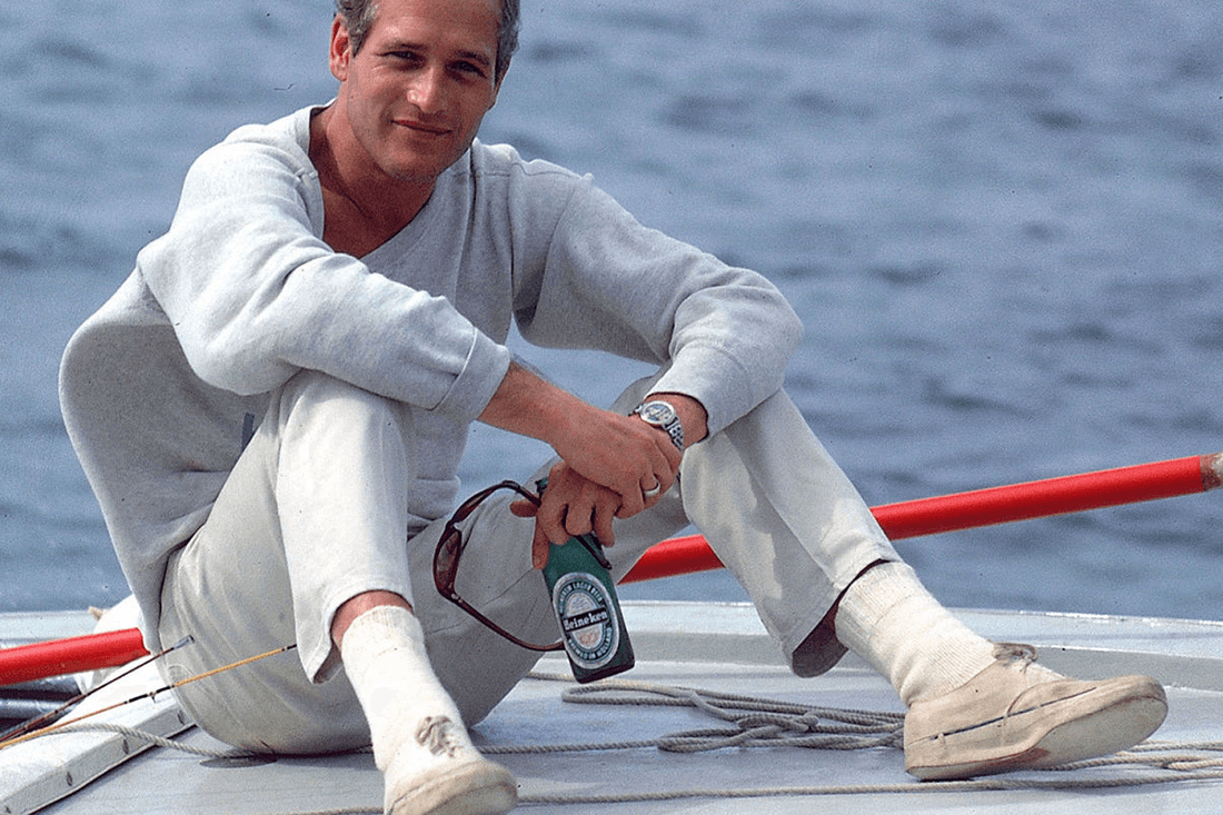 Paul Newman in a preppy all-white outfit