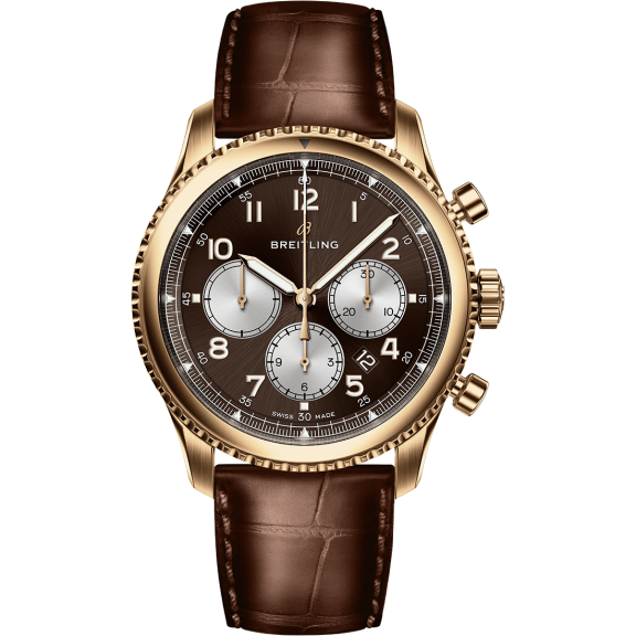 Navitimer 8 B01 in 18 k red gold with bronze dial and brown alligator leather strap