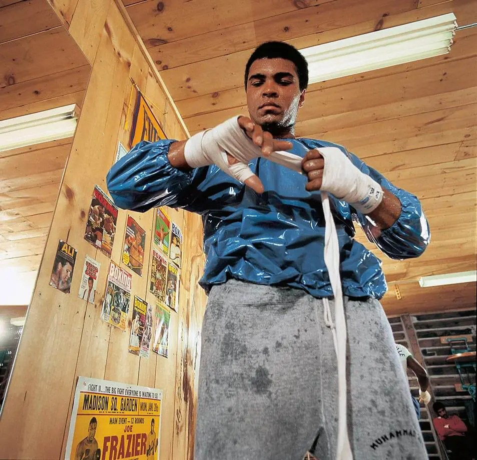 Muhammad Ali working up a sweat in training in 1973