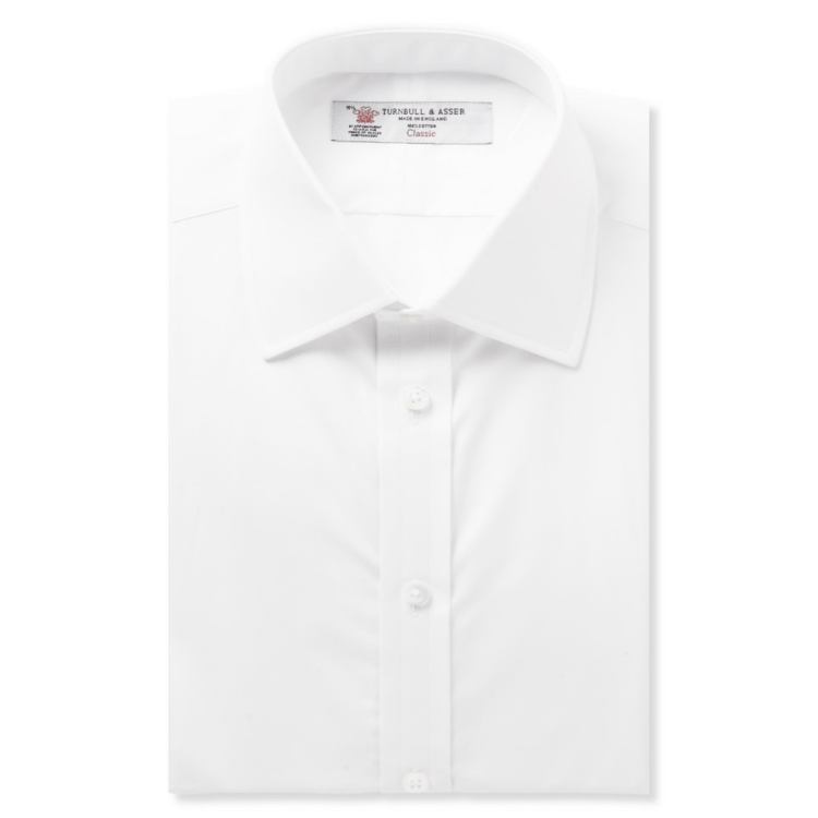 Turnbull & Asser Plain White Cotton Shirt with Classic T&A Collar