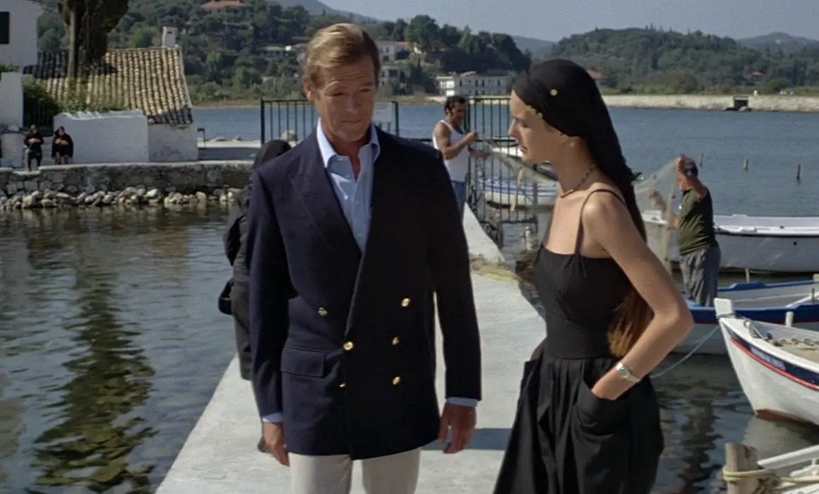 Roger Moore as James bond wearing Double-Breasted Blazer in For Your Eyes Only
