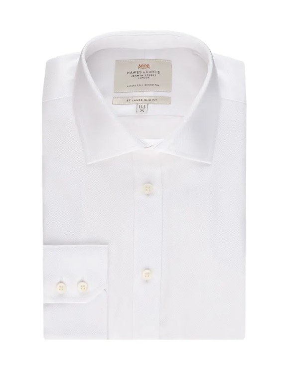 Hawes & Curtis Men's Formal White Herringbone Slim Fit Shirt - Single Cuff - Easy Iron £49 >