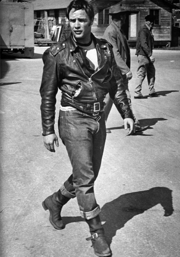 Marlon Brando in The Wild One (1953), a film about rival motorcycle gangs terrorising a small town after one of their leaders is thrown in prison.