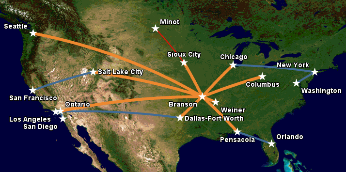 Apex Airways route map, February 2016.