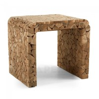 Wooden Side Table Timber Mosaic Natural Wood Decorative ...