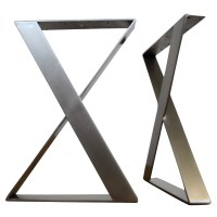 Flat Stainless Steel X Shaped Table Legs Set of 2 | Apex