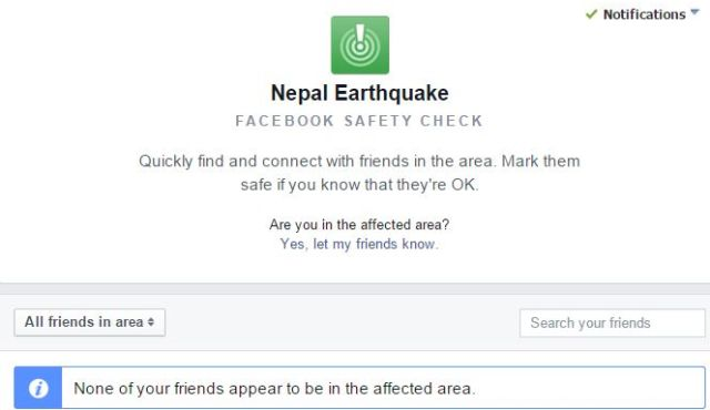 Google an Facebook Help People Involved In The Nepal Earthquake Incident