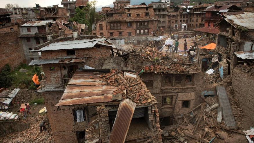 Ruined houses in Nepal disaster