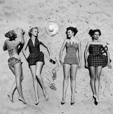 girls taking a sun bath