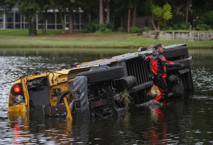 """overturned school bus"""