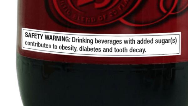 """warning labels sugary drinks"""