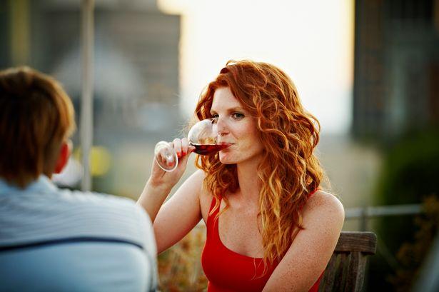 """woman drinking wine"""