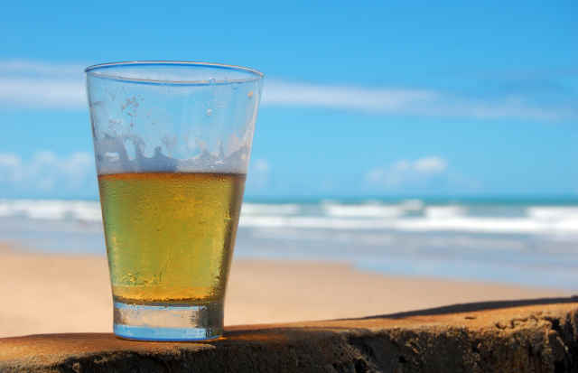 Chilled Glass of Beer by the Beach