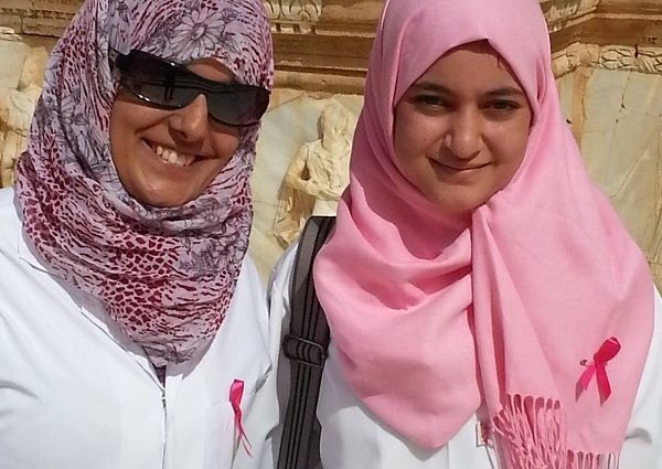 Two women who support breast cancer campaign