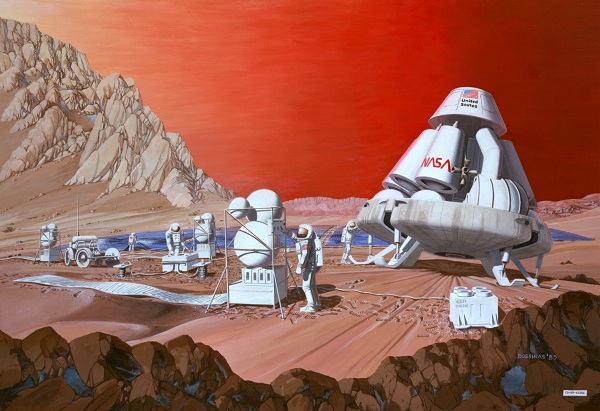 A drawing of astronauts on Mars