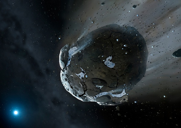 An asteroid in space