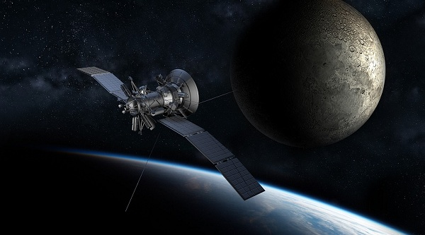 Illustration of a satellite and the moon