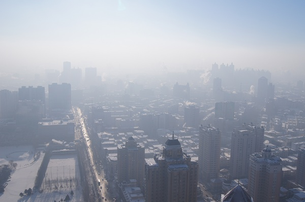 A city in China covered by smog