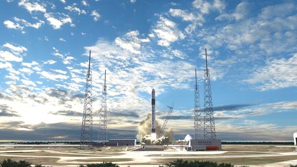 The launching of a Falcon 8 rocket